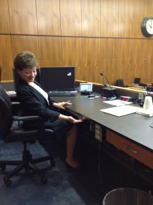 "Colleen, our courtroom deputy supervisor, sits in judge's chair on the bench.  She shows the""panic alarm"" and other ""secrets"" to prospective jurors while I provide the narrative."
