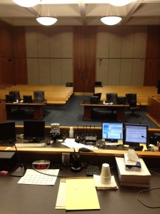 View from the judge's bench.   The prospective jurors go up on the bench during orientation and see what I see.