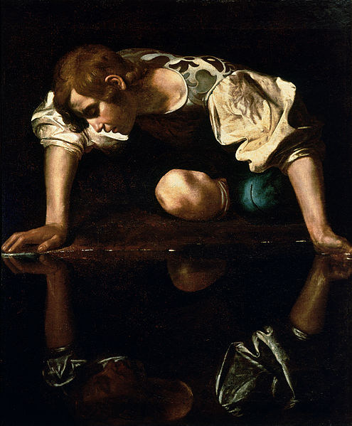 Narcissus by Caravaggio depicts Narcissus gazing at his own reflection. From Wikimedia Commons--this work is in the public domain in the United States, and those countries with a copyright term of life of the author plus 100 years or less.