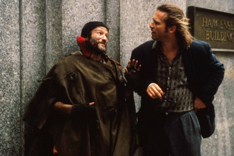 "Photo credit: This photo is taken from the superb 1991 movie Fisher King with Robin Williams and Jeff Bridges. Williams' character lives in a hole in the wall, talks to invisible ""fat people,"" and believes a fire-emitting, mounted knight is constantly pursuing him. When the movie literally depicts the knight chasing Williams' character through the streets of a major city on a huge black horse, you see what schizophrenia actually looks like, including, most especially, the terrifying auditory and visual hallucinations that are frequently present."