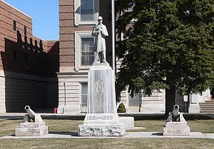Civil War memorial to the Grand Army of the Republic in front (west) of the Dawson County Courthouse in Lexington, Nebraska.