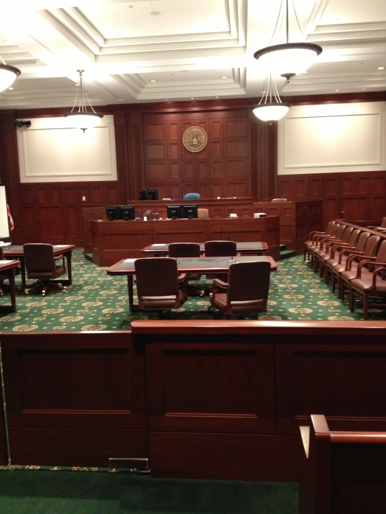 This is a photo of the courtroom I used yesterday. Save for the Court of Appeals Courtroom and the Special Proceedings Courtroom, the courtrooms throughout the building look pretty much like this. The jury box is to the right, and not pictured in this photo.