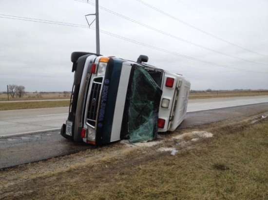 Near Lincoln, ambulance turns over on icy conditions. Photo credit: KETV News.
