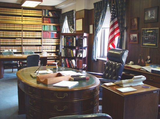 This is copy of a photo showing Judge Richard Arnold's oval desk was supplied to me by our Circuit Librarian in jpg format. From the properties menu, it appears that the photo was taken on Wednesday, September 29, 2004. The copy appears to have been made on that same date.  Judge Arnold died on September 23, 2004 as a consequence of an infection he suffered while being treated for Non-Hodgkin's Lymphoma (of the indolent variety) at the Mayo Clinic in Rochester, MN.  He had suffered from, and had been treated for, the disease since 1975.