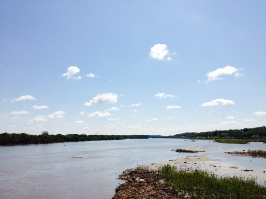 RGK's photo (May 14, 2014).  The Platte river looking south and east from the I-80 bridge between Lincoln and Omaha, Nebraska.