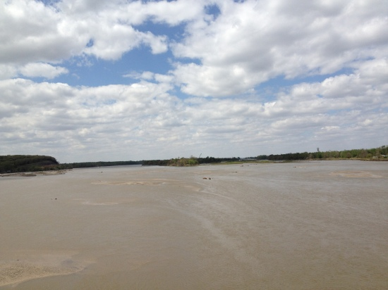 RGK's photo (May 14, 2014).  The Platte river looking north and west from the I-80 bridge between Lincoln and Omaha, Nebraksa.
