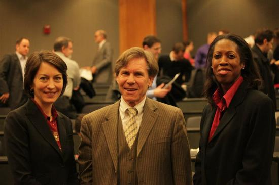 Dean Susan Poser (left), Judge Radar (center) and Christal Sheppard Ph.D, J.D., Assistant Professor of Law, University of Nebraska College of Law, who interned with Judge Radar.  The Judge gave the Cline Williams Jurist-In-Residence Lecture at noon Feb. 14, 2014.