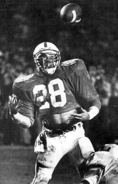 Photo credit: Ted Kirk/Lincoln Journal Star. Nebraska's Jeff Smith has a two-point conversion pass from Turner Gill batted away in the fourth quarter against Miami in the 1984 Orange Bowl.