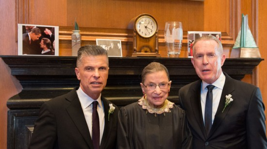Photo credit: AP and TPM. In 2013, Justice Ruth Bader Ginsburg made history lwhen she presided over the first gay marriage inside the U.S. Supreme Court.