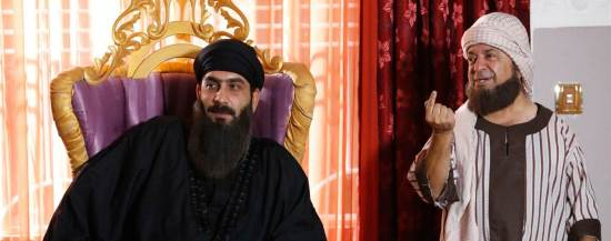 "Photo credit: NBC News and State of Myths (n Iraqi TV show poking fun at ISIS would have already triumphed over battalions of militants rampaging through Iraq and Syria. ""State of Myths"" features a gun-toting dwarf, a guy in salmon-colored shorts wielding golf clubs and ISIS chief Abu Omar Al Baghdadi arm-curling human skulls, among many others."