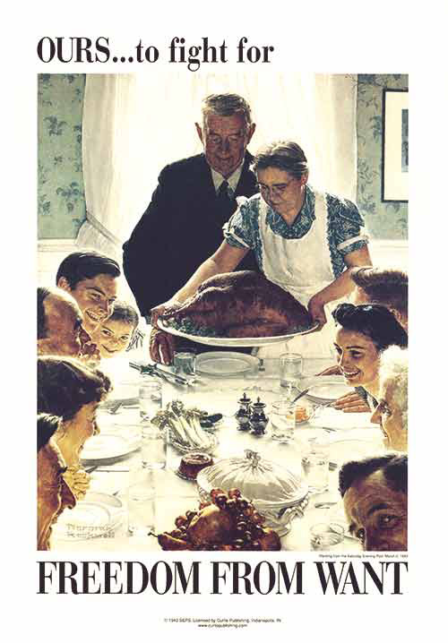 "Image credit: ""Freedom from Want"" by Norman Rockwell From March 3, 1942, © COPYRIGHT 2014 SATURDAY EVENING POST SOCIETY."