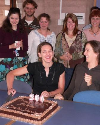 Stacey (middle) celebrating Charles Darwin's 200th birthday with colleagues from the Institute for Land, Water and Society at Charles Sturt University