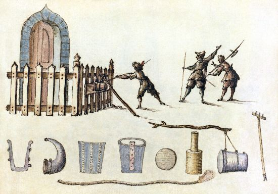 "Credit: ""Petardsketch2"" by unknown, possibly Italian - Library of Congress. The drawing depicts a petard, from a seventeenth-century manuscript of military designs."